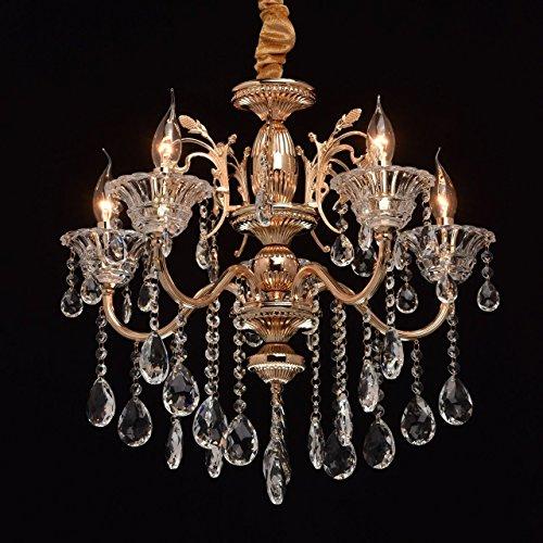 MW-Light Kroonluchter Kaarsen 5 Vlammen Klassiek Goudkleurig Metaal Kristal