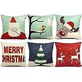 6 Packs Christmas Pillows Covers 18 X 18 Christmas Decorations Pillows Covers Merry Christmas Decorative Throw Pillows Cases Sofa Indoor Home Décor Deer Santa Claus Christmas Tree