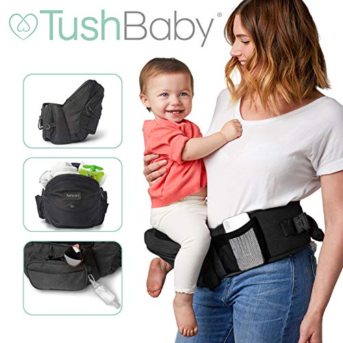 TushBaby The Only Safety Certified Hip Seat Baby Carrier - As Seen On Shark Tank, Ergonomic Waist Carrier for Newborns, Toddlers & Children, Black