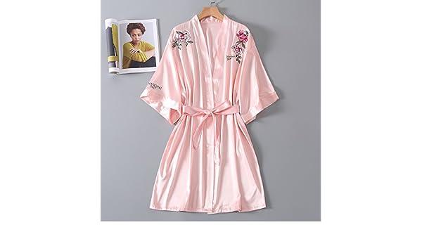 Wanglele Pijama De Seda Seda Verano Mujer Floja Batas Batas Bordadas Peony Bridesmaids Maquillaje Batas,El Polvo,: Amazon.es: Hogar