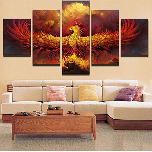 Chuixiaoxiao1 Canvas Painting of 5 Panel Pieces Modern Home HD Printed Wall Art Modular Poster Framework 5 Pieces Pictures Fire Phoenix Painting On Canvas Room Decorative (Restaurant Furniture Phoenix)