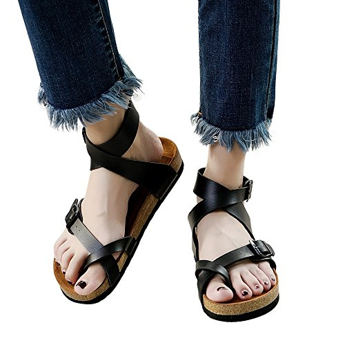 Clearance Sale Shoes,Farjing Fashion Women Casual Shoes Outdoor Walking Shoes Flats Strap Toe Shoes(US:8,Black) by Farjing