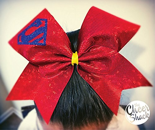 Red Bow with Superman Logo,Cheer Bow, Hair Bow - Image 1