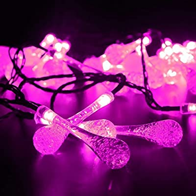 LED SopoTek Solar Christmas Lights 19.7ft 6m 30 LED 2Modes Solar Light String Crystal Water Drop Solar Fairy String Lights for Outdoor, Gardens, Homes, Wedding, Christmas Party, Waterproof (30LED Pink)