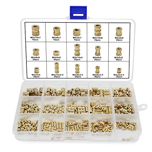 OCR M2 M3 M4 M5 Female Thread Knurled Nuts 330PCS Brass Threaded Insert Embedment Nuts Assortment Kit