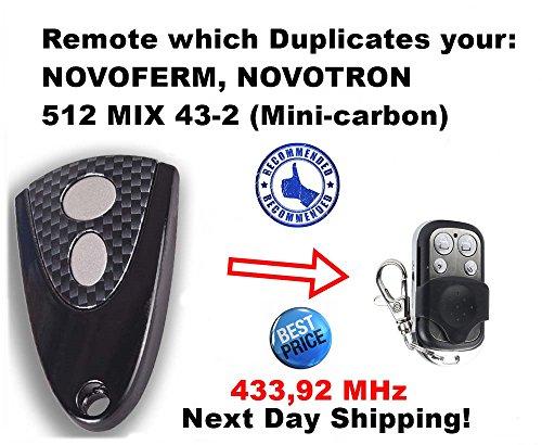 MIX43 NOVOFERM/NOVOTRON 512 Compatible Mando a distancia 4canales 433,92mhz rolling code Reemplazo emisor de alta calidad para el mejor precio. Mini Carbon 2
