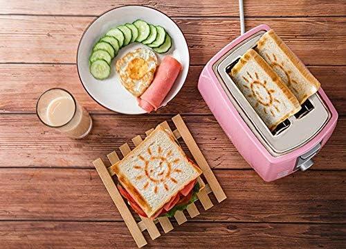 2 Scheibe, Retro- kleine Toaster mit Bagel, Abbrechen, Auftau-Funktion, Extras Wide Slot Compact Edelstahl Toaster for Brot Waffeln, 4 Farben, Rosa LMMS