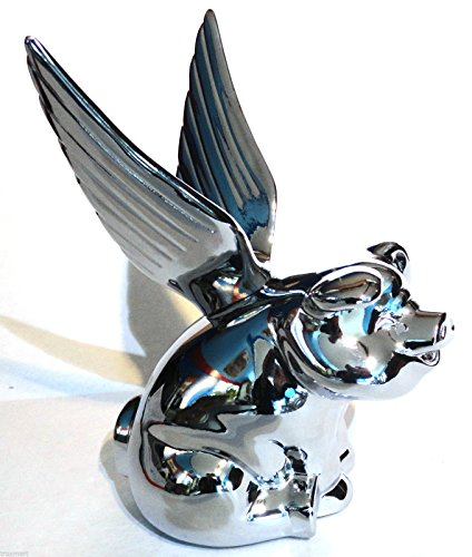 (CPW (tm Chrome Flying Pig Metal Emblem for Hotrod Car Truck Semi Hood Ornament )