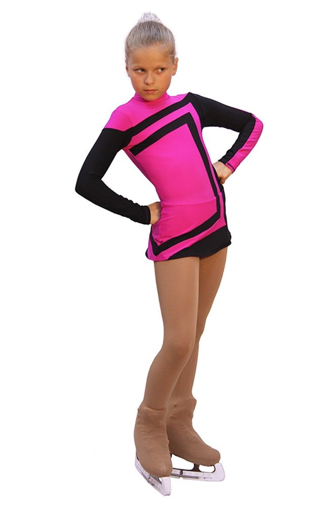 IceDress - Figure Skating Dress - Avangard (Fuchsia with Black )(CXL) by IceDress