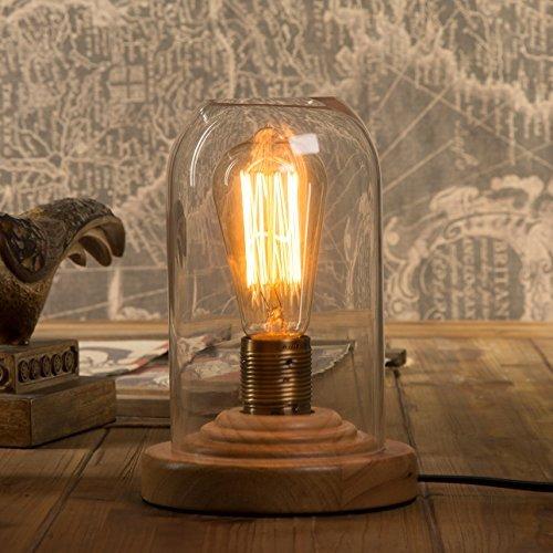 OYGROUP Loft Vintage Industrial Glass Wood Desk Lamps Retro E26 Edison Bulb Wooden Base Led Table Lights for Bedside Bedroom Bar Living Room Cafe Bar Decoration
