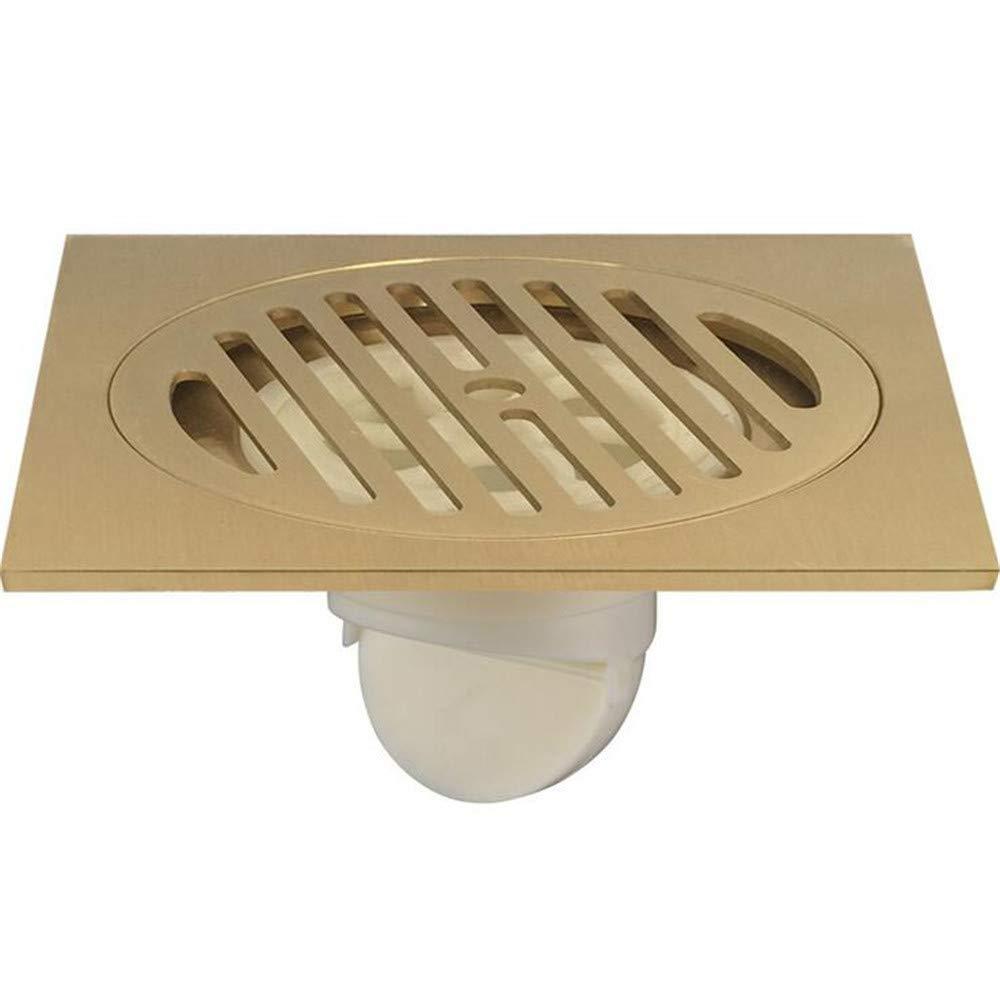 LIDINA Large Displacement Floor Drain/Balcony Thickened Square 15 15cm Water/Bathroom Copper Deodorant Drainage Cover,B