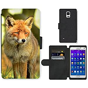 Hot Style Cell Phone Card Slot PU Leather Wallet Case // M99999993 Fox Animal Pattern // Samsung Galaxy Note 4 IV
