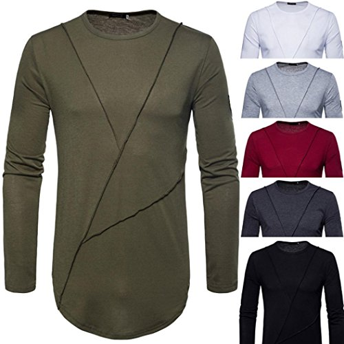 New Hot Sale!PASATO Fashion Men's Autumn Pure Color Joint Long Sleeved Sweatshirts Top Blouse(Dark Gray,M) by PASATO (Image #6)