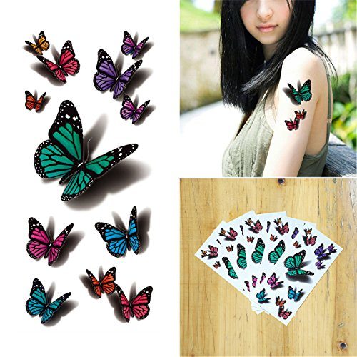 COKOHAPPY 5 Sheets Temporary Tattoo 3D Flying Butterfly for Women Girls Lower Back Shoulder Neck Arm Butterfly Lower Back Temporary Tattoo