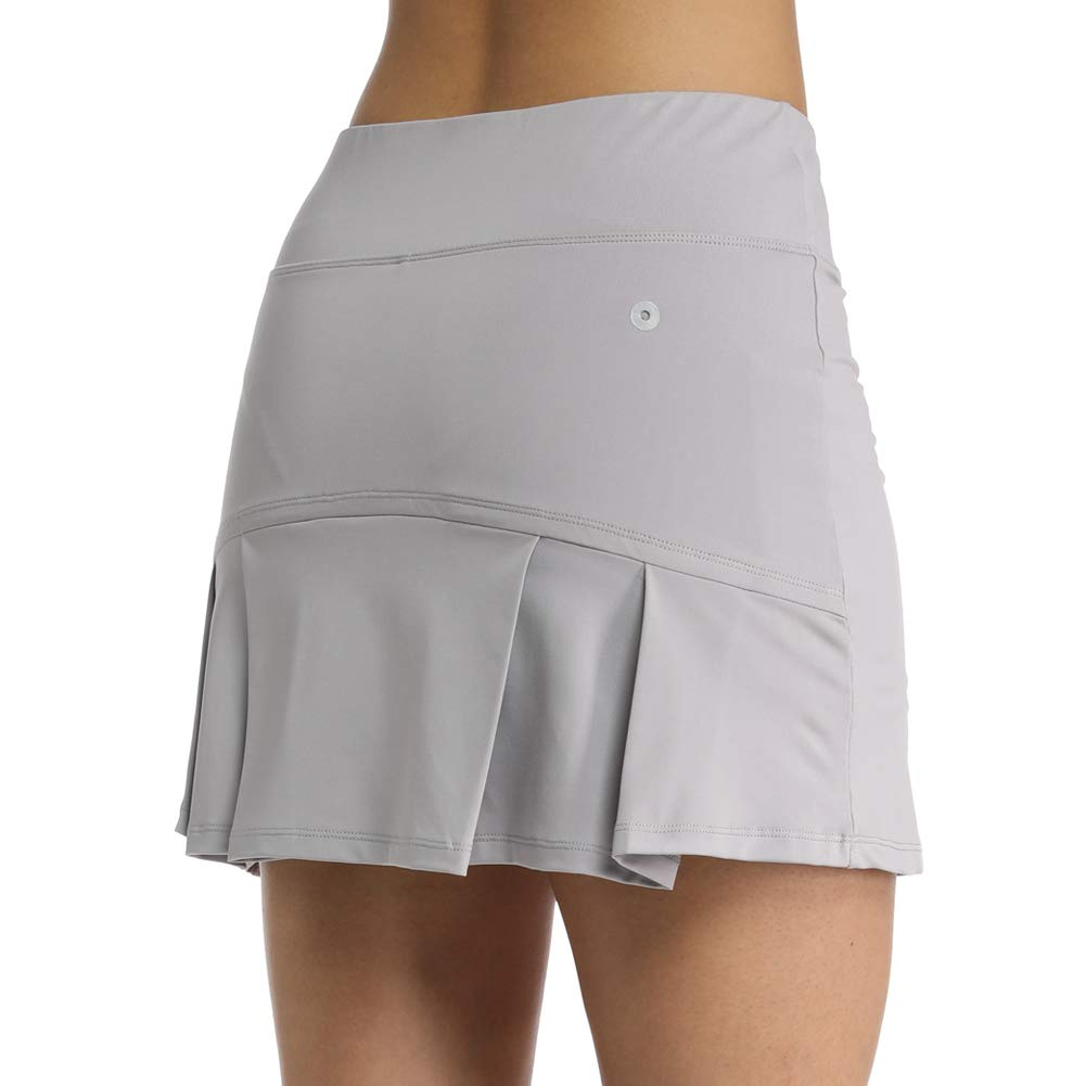 Ultrafun Women's Active Tennis Golf Skort Pleated Athletic Sports Running Skirt with Pockets and Shorts (Grey, XL-Waist:32.5-34.5'') by Ultrafun