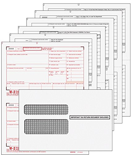 2018 Employee W-2 Laser Forms (W2) (6-Part) Kit with Self Seal Envelopes for 25 Employees and 3 W-3 Transmittal Forms