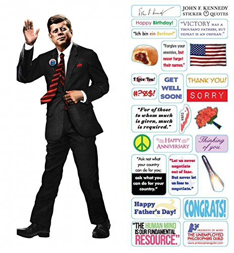 Kennedy Card - JFK John F Kennedy Quotable Notable - Die Cut Silhouette Greeting Card and Sticker Sheet