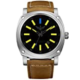 YELANG v3.3 Plus Super Bright Tritium Yellow Luminous Sapphire Glass Brown Leather Strap Original Color Titanium Alloy Case Men Watch