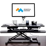Adjustable Standing Desk - Sit To Stand Elevating Desk Top Converter W/ Keyboard Tray By Mindful Design (Black, Extended)