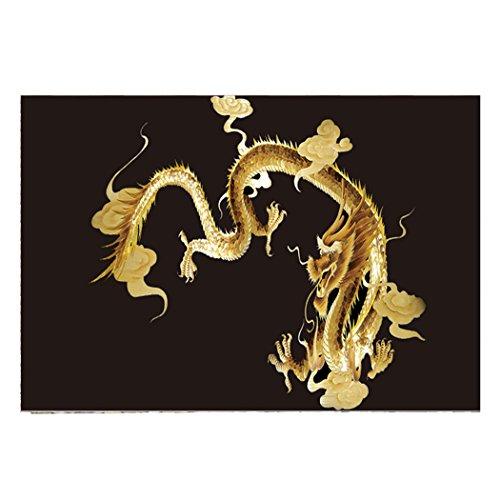 YOKOU Decorative Aquarium Background Golden Dragon Sticker Wallpaper Fish Tank Backdrop Static Cling, 35.4''x19.6'' by YOKOU