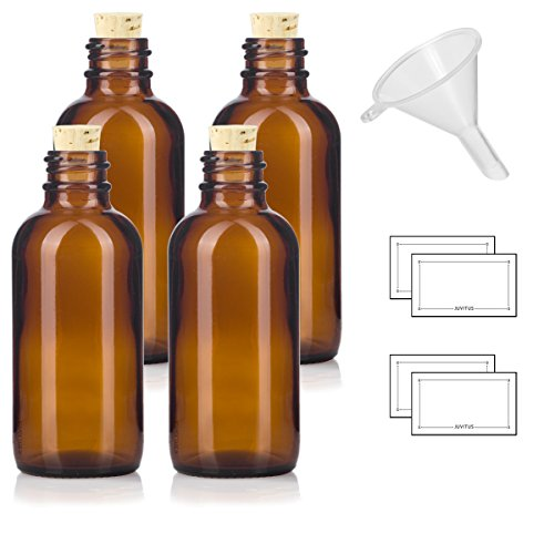 2 oz Amber Glass Boston Round Bottle with Cork Stopper Closure (4 Pack) + Funnel and ()