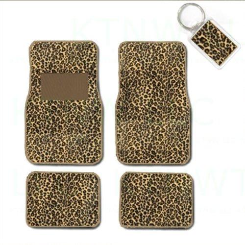 Animal Car Floor Mats (A Set of 4 Universal Fit Animal Print Carpet Floor Mats for Cars / Truck and 1 Key Fob - Cheetah Tan)