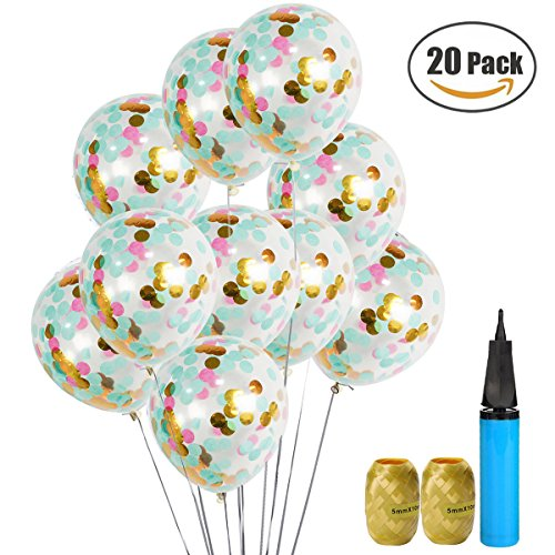 UTOPP 20 Pack Confetti Balloons Tiffany Blue Pink and Gold 12