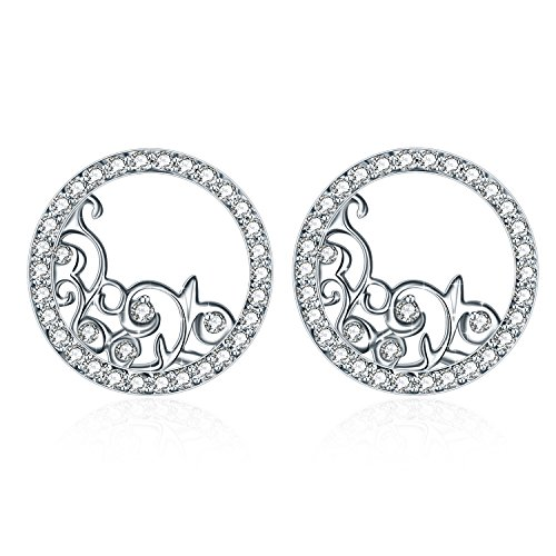 Earring ZHULERY Women's Halo Filigree Flower 925 Sterling Silver Stud Earrings with 13mm Round Cubic Zirconia Jewelry Gift for Graduation, Birthday, Anniversary