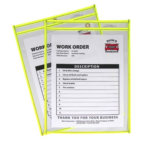 C-Line Neon Stitched Shop Ticket Holders, Yellow, Both Sides Clear, 9 x 12 Inches, 15 per Box (43916)