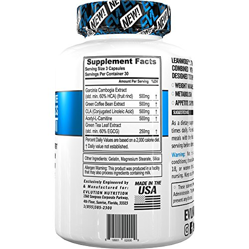 Evlution Nutrition Lean Mode Stimulant Free Weight Loss Supplement with Garcinia Cambogia, CLA and Green Tea Leaf extract
