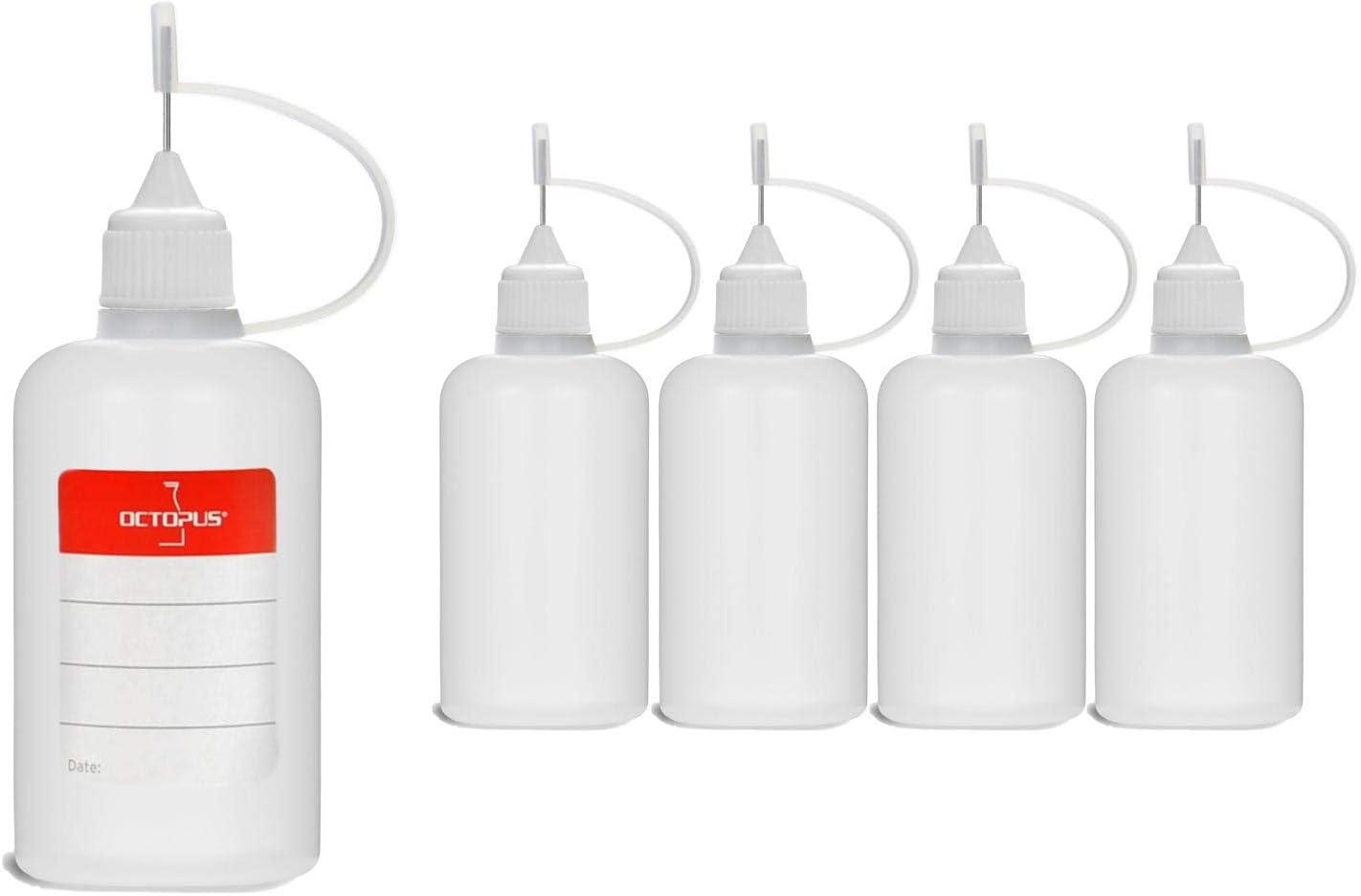 5 Botellas de recarga con aguja Octopus de 50 ml, botella para líquidos electrónicos para shishas electrónicas y cigarrillos electrónicos, aceites, tintas y pegamentos, botellas vacías de plástico LDP