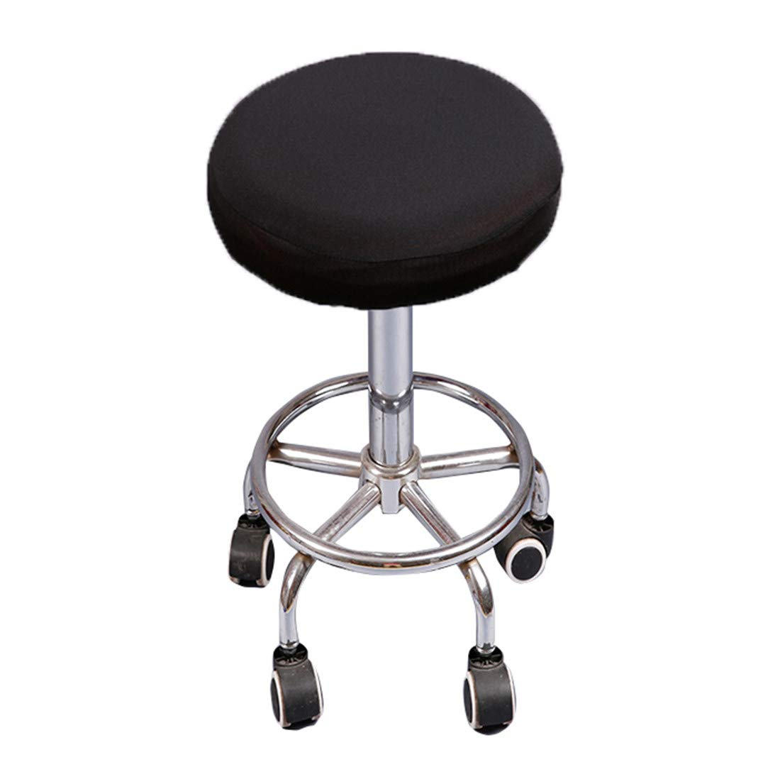 Deisy Dee Soft Stretchable Round Bar Stool Chair Covers Protectors Pack of 2 C097 (black)