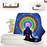 ARIGHTEX Meditation Lotus Purple blanket 7 Chakra Peace Yoga Throw Blanket Sofa Dorm Fleece Trippy Hippie Blankets (50 x 60 Inches)