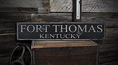 FORT THOMAS, KENTUCKY - Rustic Hand-Made Vintage Wooden USA City Sign