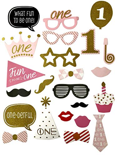 23 Piece Photo Booth Props for Parties Girls 1st Birthday Sparkly Glitter Photobooth Props, Retro Dress Up Accessories Party Favors