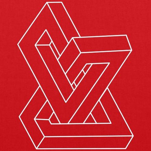 Spreadshirt Optische Täuschung Unmögliche Figur Stoffbeutel Rot