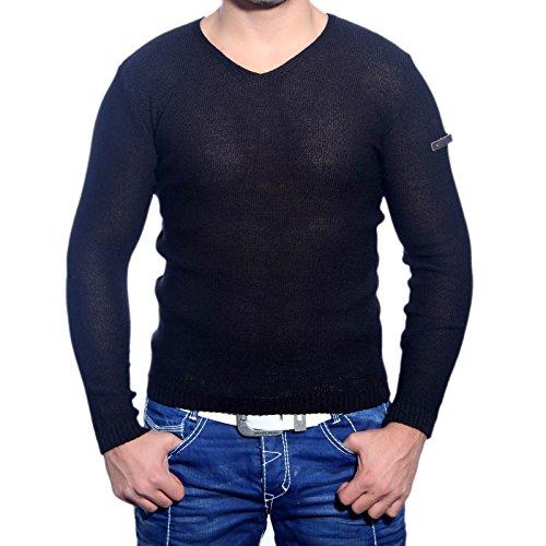 R-Neal RN-3153 Herren Pullover V-Neck Pulli Sweatshirt Jacke Hoodie T-Shirt Neu, Größe:XXL, Farbe:Schwarz