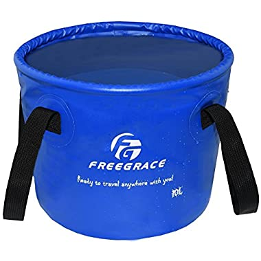 Freegrace Premium Collapsible Bucket -Multifunctional Folding Bucket -Perfect Gear For Camping, Hiking & Travel (Navy Blue, 10L)