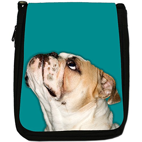 Medium Size Aqua Shoulder Bulldog Black Close Up Blue Bag Looking Canvas Of vqxwIFwz