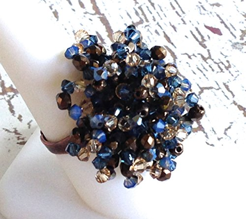 (Crystal Beaded Cocktail Ring Statement Jewelry)