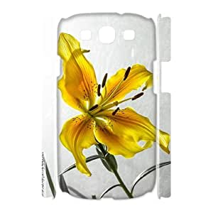 3D Samsung Galaxy S3 Cases the yellow lily, Samsung Galaxy S3 Cases Lily Design For Men, [White]
