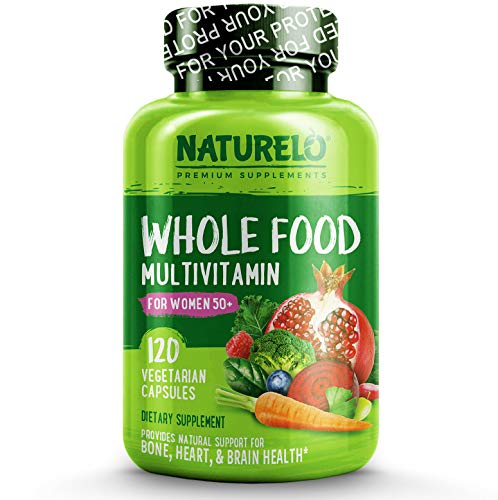 NATURELO Whole Food Multivitamin for Women 50+ (Iron Free) Natural Vitamins, Minerals, Raw Organic Extracts - Best for Post Menopausal Women Over 50 - No GMO - 120 Vegan Capsules ()