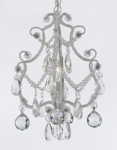 Wrought Iron Direct Wire - Wrought Iron & Crystal 1 Light Chandelier Pendant White with 40mm Faceted Crystal Balls Perfect for Kid's Rooms ! Hardwire and Plug In