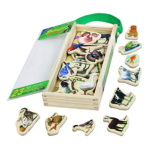 Wooden Magnetic Puzzle Animal Farm Theme Stickers Toys Refrigerator Wall Zoo Animal Sticker Pegged Puzzle with Storage Box Best Birthday for Boys Girls Kids Toddlers(23 -