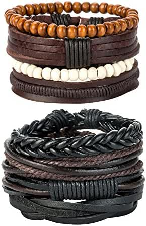 REVOLIA 8-12Pcs Leather Bracelets for Men Women Wooden Beaded Bracelets Braided Cuff