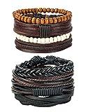 REVOLIA 8Pcs Leather Bracelets for Men Women Wooden Beaded Bracelets Braided Cuff