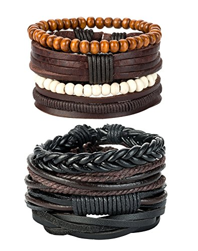 REVOLIA 8Pcs Leather Bracelets for Men Women Wooden Beaded Bracelets Braided Cuff