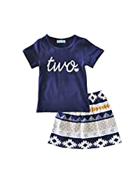 iceko Summer Style Little Girls 2 Piece Infant and Toddler Skirts Clothing Sets