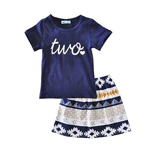 icekon iceko Summer Style Little Girls 2 Piece Infant and Toddler Skirts Clothing Sets Size For 12M-5t (100 (3T)) (Skirt Summer Skirt)