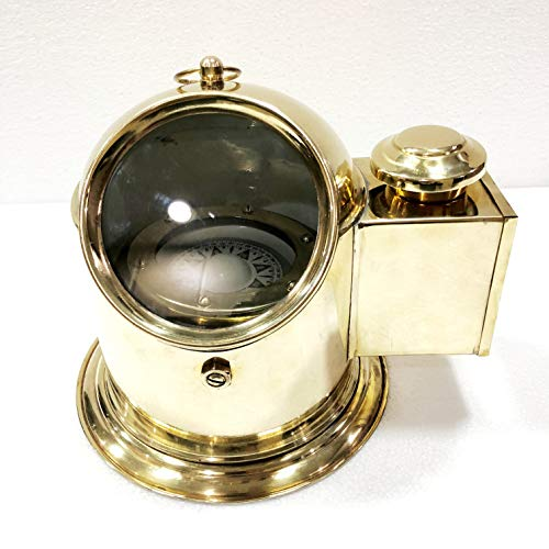 Antique Vintage Brass Floating Dial Binnacle Gimbled Compass Nautical Ship/Boat Oil Lamp by Antique (Image #1)